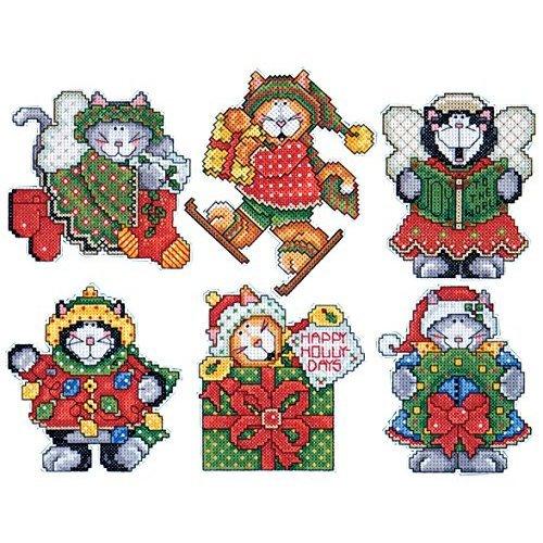 Design Works Kittens Plastic Canvas Ornaments, Multi-Color