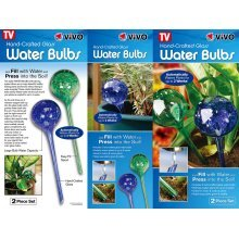 2 Hand Crafted Glass Water Bulbs Globes Indoor Outdoor Plants Automatic NEW 2WK