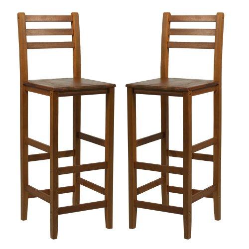 HOMCOM Kitchen Bar Stools Chairs w/ Footrests Acacia Wood Teak Colour Counter