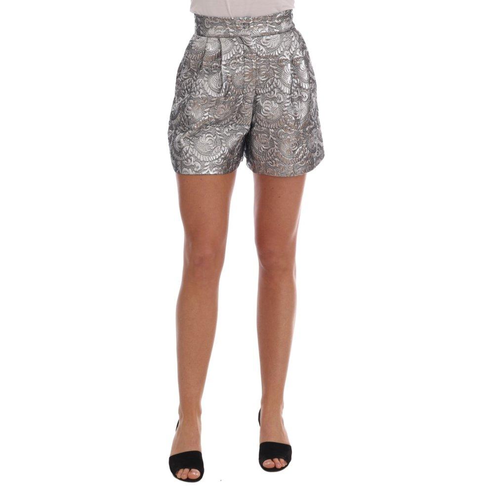 2b3efb2efb01a Dolce & Gabbana Silver Brocade High Waist Sicily Shorts