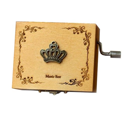 Wooden Music Box Mini Hand Crank Music Box Height Approx 1.3 Inch ?¨Crown??