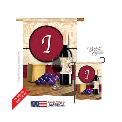Breeze Decor 30217 Wine I Monogram 2-Sided Vertical Impression House Flag - 28 x 40 in.