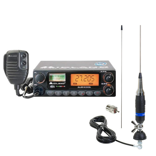 CB Radio  Midland Alan 48  Excel + Alan S9 Plus Antenna and PL259 Plug