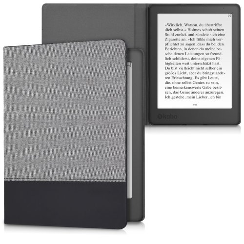 kwmobile Case for Kobo Aura H2O Edition 2 - PU Leather and Canvas Protective e-Reader Cover Folio Case - Dark Grey Black