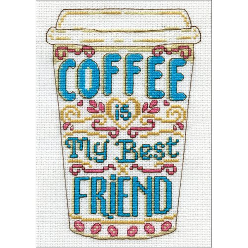 """Design Works Counted Cross Stitch Kit 5""""X7""""-Coffee (14 Count)"""