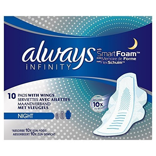 Always Infinity Night Sanitary Towels with Wings 10 Pads