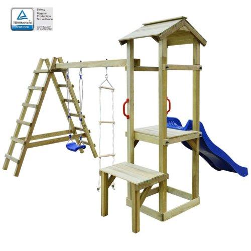 vidaXL Playhouse with Slide Ladders Swing 286x228x218 cm FSC Wood