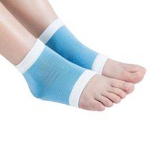 WINOMO Gel Moisturising Socks Heel Protector Sleeve Socks for Cracked Skin (Blue)