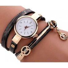 (Black) Anna Snake Strap Wrap Watch