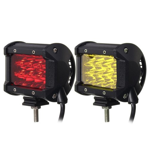 4Inch 12LED 24W Car Truck Off-road LED Work Light Bar Driving Fog Flood Beam Lamp Red Yellow